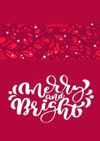 Frohe und helle skandinavische Weihnachtsvektorkalligraphie-Beschriftungstext im roten Grußkartendesign. Weihnachtshand gezeichnete Abbildung mit Blumenbeschaffenheitshintergrund. Isolierte Objekte vektor