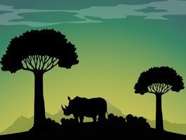 Silhuett noshörning i fältet vektor