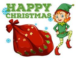 Weihnachtsthema mit Elf und Geschenkbeutel vektor