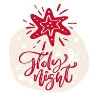 Hand gezeichneter skandinavischer Illustrationsstern. Heilige Nacht Kalligraphie Vektor Beschriftungstext. Weihnachtsgrußkarte. Isolierte Objekte