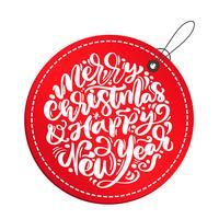 Kalligraphievektorbeschriftungstext der frohen Weihnachten und des guten Rutsch ins Neue Jahr im roten Tag. Weihnachtsskandinavische Grußkarte. Isolierte Objekte