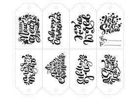 Vektorkalligraphiesatz Phrasen für Tags. Lokalisierte Weihnachtshand gezeichnet, Illustration beschriftend. Herz-Feiertagsskizzen-Gekritzel-Designkarte. Dekor für Druck und Dekor vektor