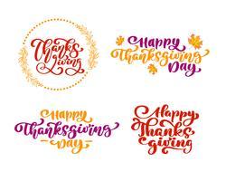 Satz von Kalligraphie-Phrasen Danksagung, glücklicher Erntedankfest. Holiday Family Positive Zitate Beschriftung. Postkarten- oder Plakatgrafikdesign-Typografieelement. Hand geschriebener Vektor