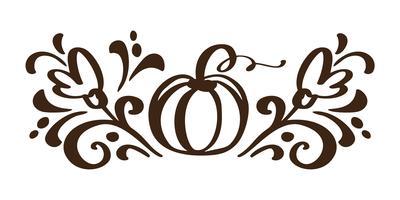 Kürbisgemüsehand gezeichnete Blumenherbstgestaltungselemente lokalisiert auf weißem Hintergrund für Retro- Design. Vektorkalligraphie und Beschriftungsillustration