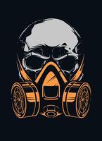 Schädel mit Atemschutzmaske auf schwarzem Hintergrund vektor