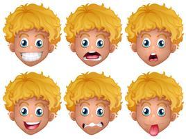 Pojke med olika ansiktsuttryck