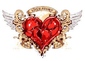 Herz mit Bändern, Flügeln und Schnörkelmuster vektor
