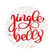 Jingle bells vintage kalligrafi bokstäver vektor jultext med vinter ritning skandinavisk blomstrande inredning. För konstdesign, mockup broschyr stil, banner idé täcker, häfte tryck flygblad, affisch