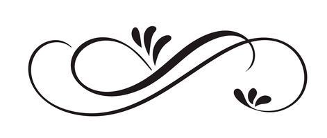 Hand gezeichnete kalligraphische Blumenfrühlings-Flourish-Gestaltungselemente in der Art lokalisiert auf weißem Hintergrund. Vektorkalligraphie und Beschriftungsillustration vektor