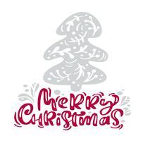Kalligraphie-Beschriftungstext der frohen Weihnachten. Weihnachtsskandinavische Grußkarte mit Hand gezeichneter Vektorillustration stilisierte Tannenbaum. Isolierte Objekte vektor