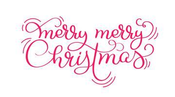 Roter fröhlicher Weinlesekalligraphiebeschriftungs-Vektortext der frohen Weihnachten lokalisiert auf weißem Hintergrund. Für Feiertagskunstentwurf Modellbroschürenart
