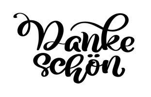 Vektor handtecknad bokstäver Danke Schon. Elegant modern handskriven kalligrafi med tacksam citat. Tack Deutsch Ink illustration. Typografiaffisch på vit bakgrund. För kort, inbjudningar, utskrifter mm