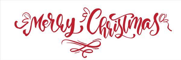 God jul röd vintage kalligrafi bokstäver vektor text. För art mall design list sida, mockup broschyr stil, banner idé täcker, häfte tryck flygblad, affisch