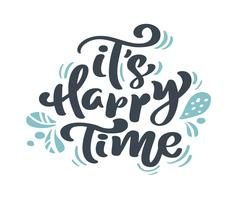 Es ist glückliche Zeit-Weihnachtsweinlesekalligraphie, die Vektortext mit skandinavischem Flourishdekor des Winters zeichnet. Für Kunstdesign, Mockup-Broschürenstil, Bannerideenabdeckung, Broschürendruck-Flyer, Poster