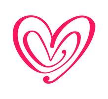 Par Röd Vector Alla hjärtans dag Handdragen Kalligrafiska Hjärtan. Holiday Design element valentin. Ikon kärleksdekor för webb, bröllop och tryck. Isolerad kalligrafi bokstäver illustration