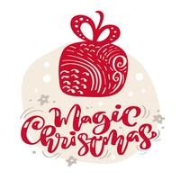 Hand gezeichneter skandinavischer Illustrationsstern. Magischer Weihnachtskalligraphievektorbeschriftungstext. Weihnachtsgrußkarte. Isolierte Objekte