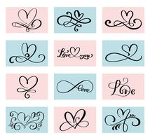 uppsättning av 12 älskande hjärta. Handgjord vektor kalligrafi. Inredning för gratulationskort för Alla hjärtans dag, mugg, fotoöverdrag, t-shirt, flygblad, affischdesign