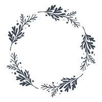Weihnachtsskandinavischer Hand gezeichneter Vektorblumenkranz mit Platz für Ihren Text. Isoliert auf weißem Hintergrund für Retro-Design gedeihen vektor