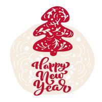 Hand gezeichneter skandinavischer Illustrationstannenbaum. Guten Rutsch ins Neue Jahr-Kalligraphievektorbeschriftungstext. Weihnachtsgrußkarte. Isolierte Objekte vektor