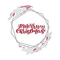 Frohe Weihnachten-Kalligraphievektortext in Weihnachtsblumen- und -geometrieelementrahmenkranz. Schriftgestaltung im skandinavischen Stil. Kreative Typografie für Holiday Greeting Gift Poster