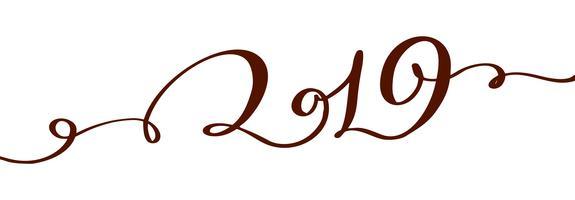 Handwritting Flourishvektorkalligraphietext 2019 Hand gezeichnete Beschriftungsnummer 2019 des neuen Jahres und Weihnachten Illustration für Grußkarte, Einladung, Feiertagstag, lokalisiert auf weißem Hintergrund