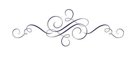 Kalligraphische Vektor-Hand gezeichnetes Flourish-Gestaltungselement. Wirbeln Sie hellen Stil Dekor für Sektifikat, Web, Hochzeit und Druck. Isoliert auf weißem Hintergrund Kalligraphie und Beschriftung Abbildung vektor