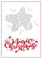 Magischer Weihnachtskalligraphievektorbeschriftungstext. Weihnachtsskandinavische Grußkarte mit Hand gezeichnetem Illustrationsstern. Isolierte Objekte vektor