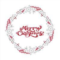 Frohe Weihnachten-Kalligraphievektortext im Weihnachtsblumenkranzrahmen. Schriftgestaltung im skandinavischen Stil. Kreative Typografie für Holiday Greeting Gift Poster