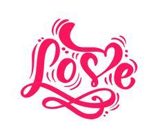 Rote Kalligraphiewort Liebe. Vektor-Valentinsgruß-Tageshand gezeichnete Beschriftung. Herz-Ferienentwurfs-Valentinsgrußkarte. Liebesdekor für Web, Hochzeit und Print. Isolierte darstellung