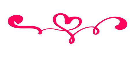 Rote Weinlese Vektor-Valentinsgruß-Tageshand gezeichnetes kalligraphisches Herz. Kalligraphie Schriftzug Abbildung. Urlaub Gestaltungselement Valentinstag. Ikonenliebesdekor für Netz, Hochzeit und Druck. Isoliert vektor