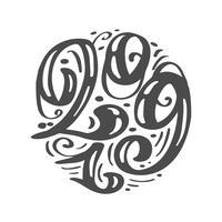 Handskriven vektor kalligrafi text 2019. Skandinaviskt handritat nyår och jul bokstävernummer 2019. Illustration för gratulationskort, inbjudan, semester tagg