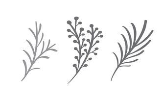 Jul dekorativa grenelement design blommiga blad i skandinavisk stil. Vektor handdraw illustration för xmas hälsningskort
