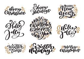 Satz Weinlesekalligraphie-Beschriftungs-Vektortext der frohen Weihnachten mit skandinavischen Gestaltungselementen der Winterzeichnung. Für Kunstdesign, Mockup-Broschürenstil, Broschüren-Flyer, Poster vektor