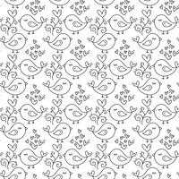 Hand gezeichneter netter Valentinsgruß-Tagesherz blühen und Vogelmusterhintergrund. Nahtlose vektorabbildung für Liebe und Hochzeit, Grußkarte und Einladung