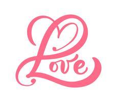 Rote Kalligraphiewort Liebe vektor