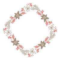 Jul Hand Drawn Floral Wreath Vinter Design Elements röd och brun isolerad på vit bakgrund för retro design blomstra. Vektor kalligrafi och bokstäver illustration