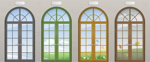 Färgade välvd dörrar