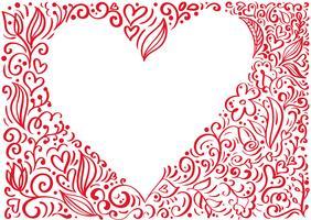 Röd vektor Alla hjärtans dag ram Hand Drawn bakgrund Hjärta med plats för text. Holiday Design valentin. kärlek dekor för hälsningskort, webb, bröllop. Isolerad kalligrafi bokstäver illustration