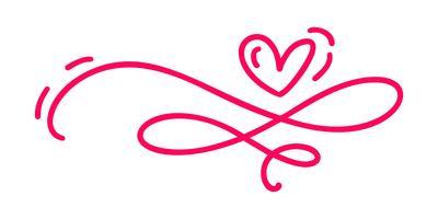 Monoline Red Vintage Vector Valentines Day Hand gezeichnete kalligraphische zwei Herzen. Kalligraphie Schriftzug Abbildung. Holiday Design Teiler Element Valentinstag. Ikonenliebesdekor für Netz, Hochzeit und Druck. Isoliert