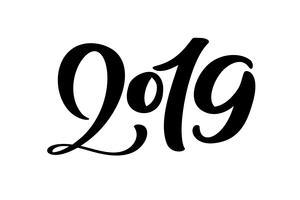 Handskriven vektor kalligrafi text 2019. Handritad nyår och jul bokstäver nummer 2019. Illustration för hälsningskort, inbjudan, helgdag tagg