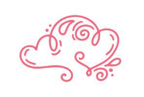 Paar Monoline rote Vektor-Valentinsgruß-Tageshand gezeichnete kalligraphische zwei Herzen. Urlaub Gestaltungselement Valentinstag. Ikonenliebesdekor für Netz, Hochzeit und Druck. Getrennte Kalligraphiebeschriftungsillustration vektor