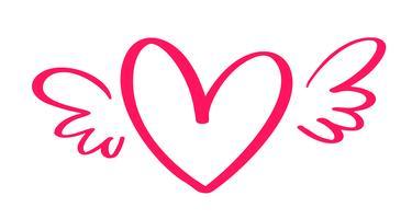 Vektor Alla hjärtans dag Handdragen kalligrafisk hjärta med vingar. Holiday Design element valentin. Ikon kärleksdekor för webb, bröllop och tryck. Isolerad kalligrafi bokstäver illustration