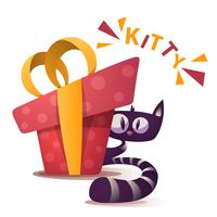 Gulliga kattungecken med röd gåva vektor