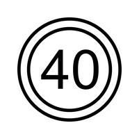 Vektor Hastighetsgräns 40 Ikon