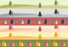 Weihnachtsbaum-Landschaftsfahnen-Vektor-Satz