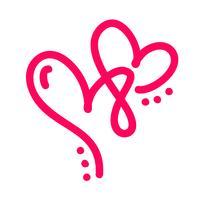 Paar Monoline rote Vektor-Valentinsgruß-Tageshand gezeichnete kalligraphische zwei Herzen. Kalligraphie Schriftzug Abbildung. Urlaub Gestaltungselement Valentinstag. Ikonenliebesdekor für Netz, Hochzeit und Druck. Isoliert vektor