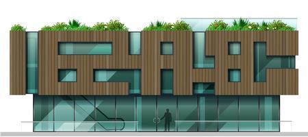 Fasaden är ett modernt köpcentrum