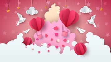 Kärlekballongillustration. Alla hjärtans dag. Moln, stjärna, himmel
