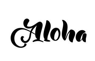 Aloha bokstäver. Vektor kalligrafi illustration. Hawaiian handgjord tropisk exotisk t-shirt grafik. Sommar kläder tryck design