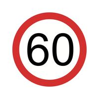 Vektor Geschwindigkeitsbegrenzung 60 Symbol